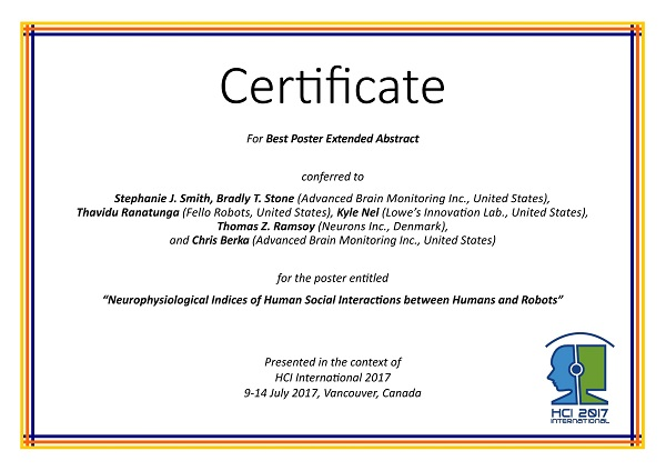 Certificate for best paper award of the 3rd International Conference on Human Aspects of IT for the Aged Population. Details in text following the image