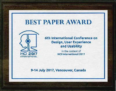 6th International Conference on Design, User Experience and Usability Best Paper Award. Details in text following the image.