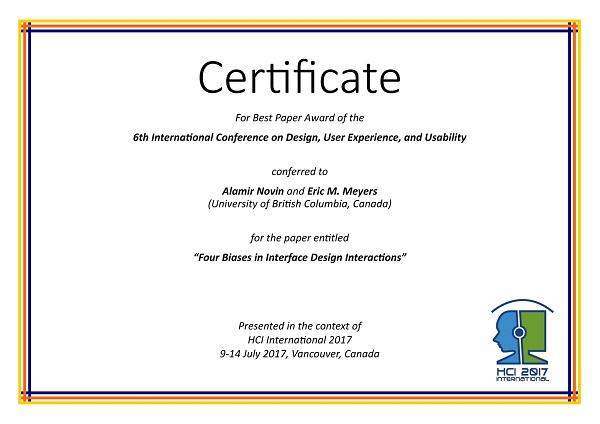 Design User Experience And Usability Best Paper Award Hci International 2017