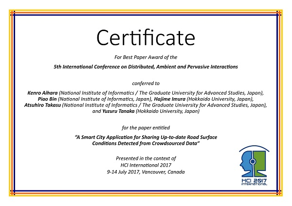 Certificate for best paper award of the 5th International Conference on Distributed, Ambient and Pervasive Interactions. Details in text following the image