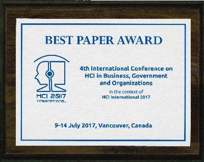4th International Conference on HCI in Business, Government and Organizations Best Paper Award. Details in text following the image.