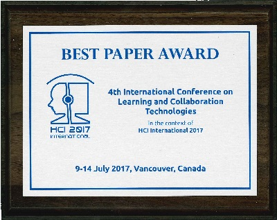 4th International Conference on Learning and Collaboration Technologies Best Paper Award. Details in text following the image.
