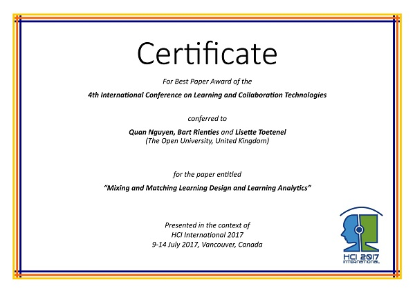 Certificate for best paper award of the 4th International Conference on Learning and Collaboration Technologies. Details in text following the image