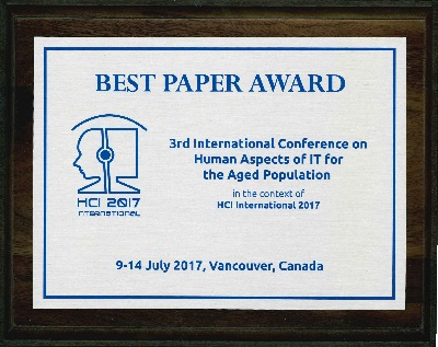 3rd International Conference on Human Aspects of IT for the Aged Population Best Paper Award. Details in text following the image.
