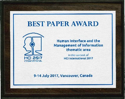 Human Interface and the Management of Information  Best Paper Award. Details in text following the image.