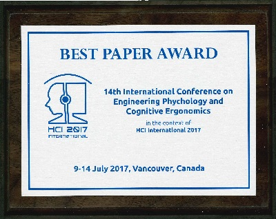 14th International Conference on Engineering Psychology and Cognitive Ergonomics Best Paper Award. Details in text following the image.