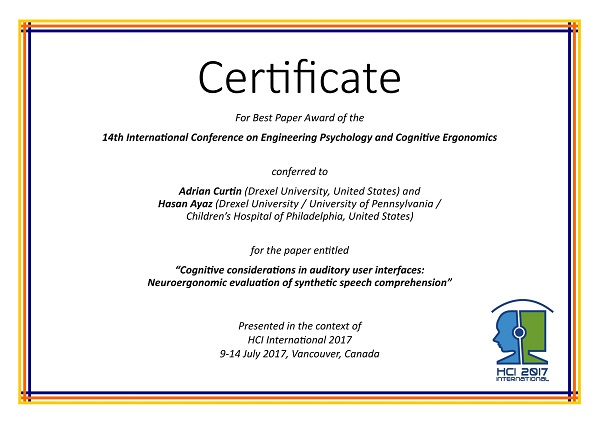 Certificate for best paper award of the 14th International Conference on Engineering Psychology and Cognitive Ergonomics. Details in text following the image