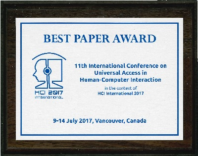 11th International Conference on Universal Access in Human-Computer Interaction Best Paper Award. Details in text following the image.