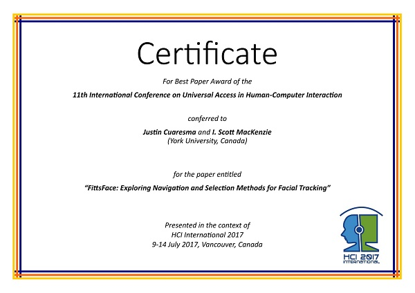 Certificate for best paper award of the 11th International Conference on Universal Access in Human-Computer Interaction. Details in text following the image