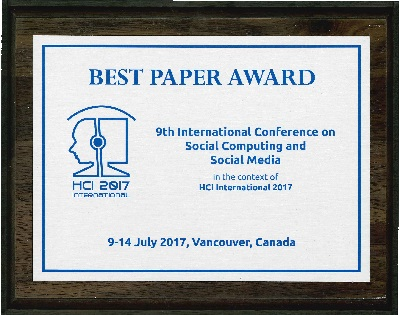 9th International Conference on Social Computing and Social Media Best Paper Award. Details in text following the image.