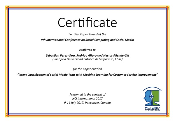 Certificate for best paper award of the 9th International Conference on Social Computing and Social Media. Details in text following the image