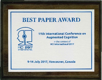 11th International Conference on Augmented Cognition Best Paper Award. Details in text following the image.