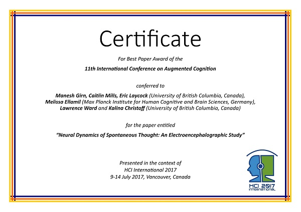 Certificate for best paper award of the 11th International Conference on Augmented Cognition. Details in text following the image